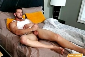 Chuck strokes his cock