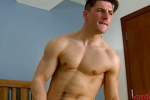 Young Rugby Player Jasper Shows Off His Muscled Body, Thick Uncut Cock and Massive Cumshot!
