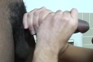 Horny white boy strokes black cock
