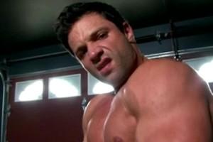 Mega Italian Hunk Tyler Black jerks his man meat in a garage