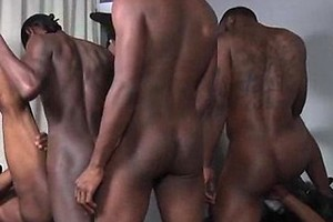 Phoenix, Solo, Blaque Rod, Intrigue, Dragon and Pleasure Boi in a black gay orgy