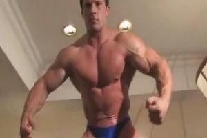 Worship Video. Bodybuilder wrestling and strokes dick.